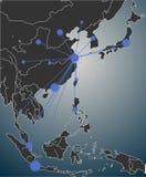 Porcelaine de centre de Changhaï, carte orientale de l'Asie Photographie stock libre de droits