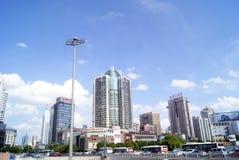 Porcelaine de Tchang-cha : paysage de bâtiment de ville Photo stock