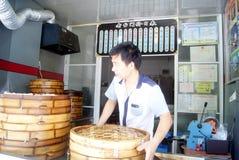 Porcelaine de Tchang-cha : restaurant de baozi Photographie stock libre de droits