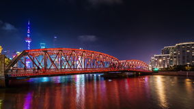 Porcelaine du centre de laps de temps du panorama 4k de pont de baie de rivière de ville de Changhaï de nuit clips vidéos