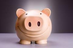 Porcelaine Piggy no fundo cinzento vermelho Fotografia de Stock Royalty Free