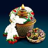 Porcelaine thaïlandaise avec des conceptions dans cinq couleurs Photo libre de droits
