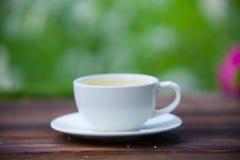 Porcelainl kopp med grönt te på tabellen Arkivfoto