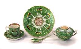 Porcelana antigua de las mariposas de la hoja de la col de China foto de archivo