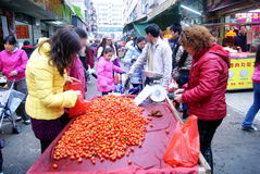 Porcelana de Shenzhen: os tomates da escolha e da compra Imagens de Stock Royalty Free