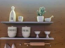 Porcelana do armazenamento da cozinha na prateleira fotografia de stock royalty free