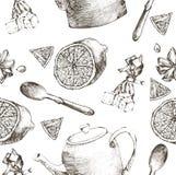 Porcelana do chá do vintage Teste padrão sem emenda Ilustração do vetor Imagem de Stock Royalty Free