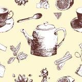 Porcelana do chá do vintage Teste padrão sem emenda Ilustração do vetor Fotografia de Stock Royalty Free