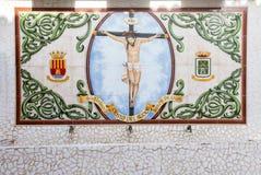 Porcelana składa mozaiki tło na ścianie w starym miasteczku w Calpe Obraz Royalty Free