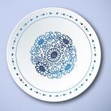 Porcelana tradicional chinesa do azul e a branca, Daisy Pattern ilustração stock