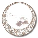 Porcelana tradicional chinesa do azul e a branca, o lago e a Lotus Flowers ilustração do vetor