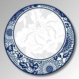 Porcelana tradicional chinesa do azul e a branca, peônia, flores ilustração stock