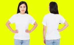 Porcelana traseira dianteira ajustada das vistas, mulher coreana no tshirt branco isolado no fundo amarelo, trocista acima para o imagem de stock