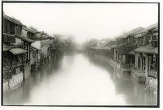 Porcelanowa antyczna wodna wioska Obraz Stock
