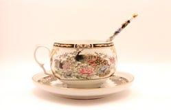 porcelanowa filiżanki grzywny spodeczka łyżka Obrazy Royalty Free