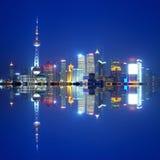 porcelanowa noc Shanghai linia horyzontu Fotografia Stock