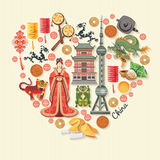 Porcelanowa podróż wektoru ilustracja Chiński ustawiający z architekturą, jedzenie, kostiumy, tradycyjni symbole w roczniku proje Zdjęcie Royalty Free