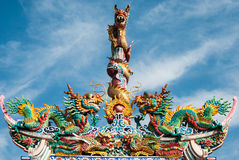 porcelanowa smoka dachu statuy świątynia Fotografia Royalty Free