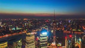 Porcelanowa Szanghaj linia horyzontu, dzień noc Timelapse zbiory