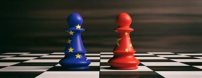 Porcelanowe i Europejskie Zrzeszeniowe flaga na szachowych pionkach na chessboard ilustracja 3 d ilustracji