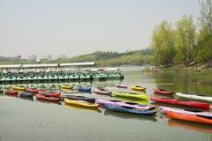 Porcelanowy Azja, Pekin Olimpijski lasu park, ogrodowy landscapeï ¼ ŒWater, łódź Zdjęcia Stock