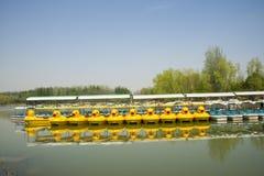 Porcelanowy Azja, Pekin Olimpijski lasu park, ogrodowy landscapeï ¼ ŒWater, łódź Zdjęcie Stock