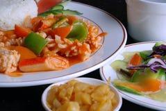 porcelanowy cuttlefish wyśmienicie jedzenie smażący ryż Zdjęcia Royalty Free