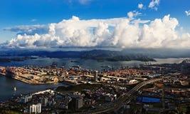 porcelanowy dzień schronienia portu Shenzhen widok yantian Obrazy Royalty Free