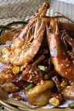porcelanowy wyśmienicie jedzenie smażąca garnela Fotografia Royalty Free
