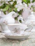 porcelanowy zbliżenia filiżanki stołu ślub zdjęcia royalty free