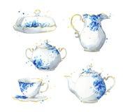 Porcelany herbaty set, akwareli ilustracja ilustracja wektor