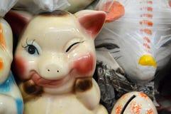 Porcelany prosiątka tradycyjny meksykański bank Zdjęcia Royalty Free