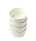 Porcelany souffle ramekin naczynie odizolowywający obrazy royalty free