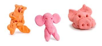 Porcelet, éléphant et chat Images libres de droits