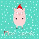 Porcelet de porc Caractère drôle de bébé de bande dessinée mignonne Les porcs de porc sèment l'animal Joyeux Noël Santa Hat Symbo illustration stock
