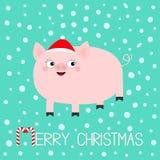 Porcelet de porc Les porcs de porc sèment l'animal Caractère drôle de bébé de bande dessinée mignonne Joyeux Noël Santa Hat Symbo illustration libre de droits