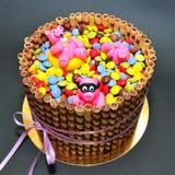 Porcelets roses drôles dans une piscine de gâteau d'anniversaire de sucrerie Photos stock