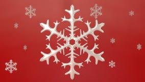 Porcelinsneeuwvlok met rode achtergrond Stock Fotografie