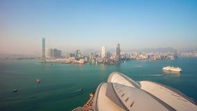 Porcellana di lasso di tempo di panorama 4k del centro di convenzione e di mostra di Hong Kong di giorno archivi video