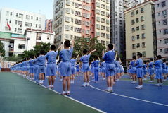 Porcellana di Shenzhen: allievi per condurre le attività Immagini Stock
