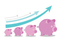 Porcellini salvadanaio rosa che aumentano di dimensione con le frecce di crescita Fotografia Stock Libera da Diritti