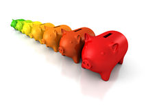 Porcellini salvadanaio variopinti di concetto di efficienza nella fila Fotografia Stock