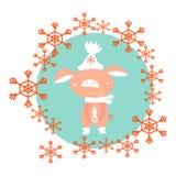 Porcellino nell'inverno in un cappello bianco Nel cerchio dei fiocchi di neve rossi, illustrazione di vettore illustrazione di stock