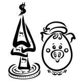 Porcellino ovale divertente in un cappello accanto all'albero dell'interim delle fatture royalty illustrazione gratis