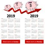 Porcellino salvadanaio alla moda del maiale del calendario per domeniche 2019 in primo luogo illustrazione di stock