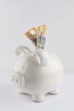 Porcellino salvadanaio bianco della porcellana con l'australiano tre una Bi di cinquanta dollari Fotografie Stock
