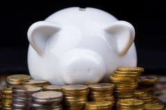 Porcellino salvadanaio bianco dietro le monete nella regolazione scura Immagini Stock Libere da Diritti