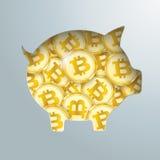 Porcellino salvadanaio Bitcoins dorato Immagini Stock Libere da Diritti
