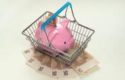 Porcellino salvadanaio in cestino della spesa con molti euro Immagini Stock Libere da Diritti