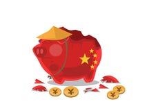 Porcellino salvadanaio cinese triste fotografie stock